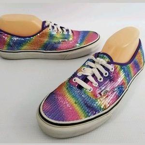 28171d7102c8d Vans Shoes   Rainbow Sequin Canvas Womens 11 Mens 95   Poshmark